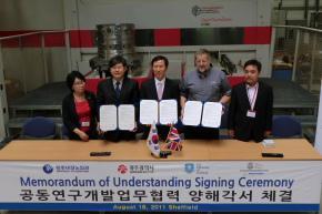 Professor Ridgway with the delegation from Gwangju City and Gwangju TechnoPark in Korea.